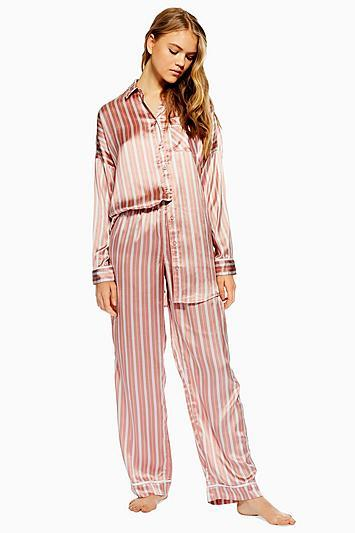 Topshop Blush Pink Striped Pyjama Trousers