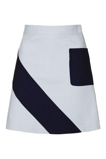 Topshop Crepe Panel A-line Mini Skirt