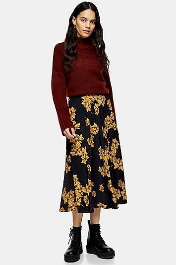 Topshop Ochre Floral Full Circle Midi Skirt