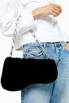 Topshop Faze Black Faux Fur Saddle Shoulder Bag
