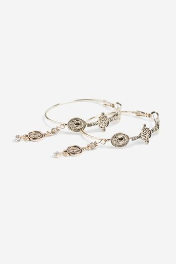 Topshop Coin Charm Hoop Earrings