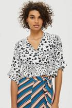 Topshop Spot Print Twist Front Blouse