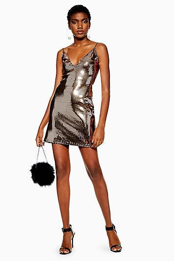 Topshop Gold Foil Sequin Mini Dress