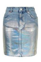 Topshop Moto Denim Foiled Skirt
