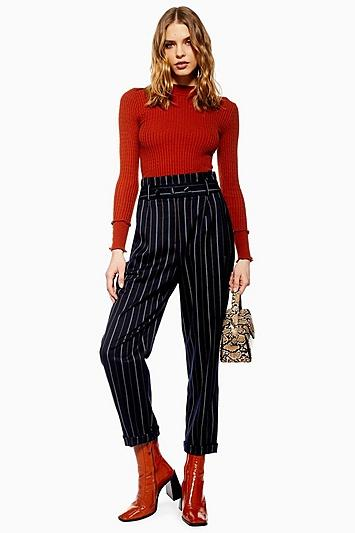 Topshop Tall Stripe Paperbag Trousers