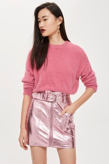 Topshop Metalic Hardware Mini Skirt