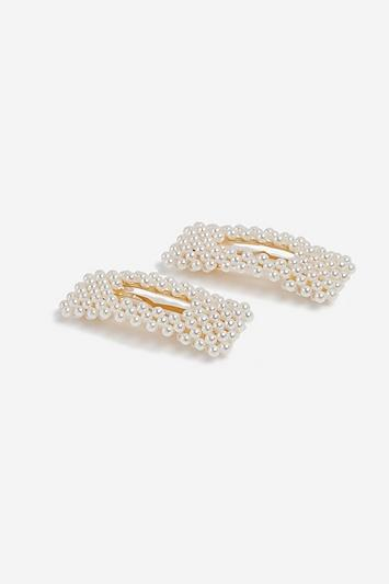 Topshop *pack Of 2 Square Pearl Hair Snaps