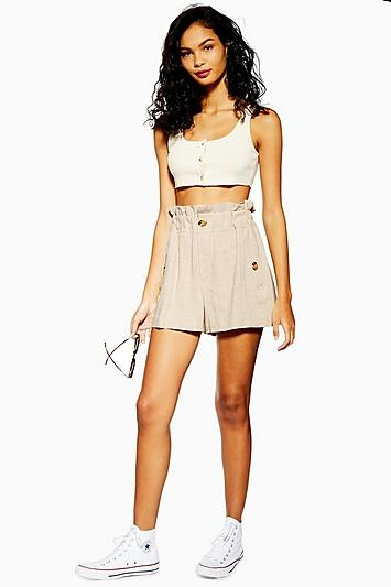 Topshop Tall Natural Paperbag Shorts With Linen