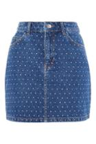 Topshop Crystal Mini Denim Skirt