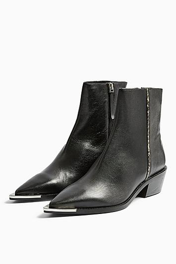 Topshop Andy Leather Black Point Boots