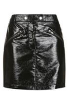 Topshop Black Vinyl Mini Skirt