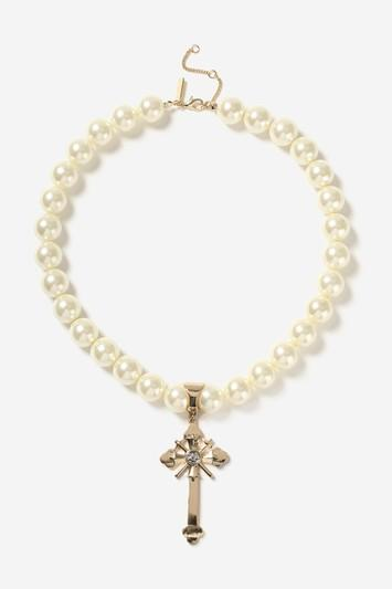 Topshop Statement Pearl Cross Collar Necklace