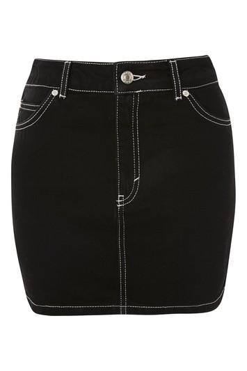 Topshop Moto Contrast Stitch Mini Skirt