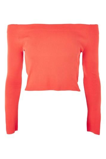 Topshop Bardot Split Sleeve Knit Top