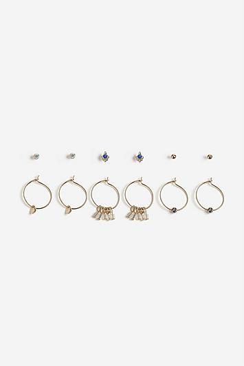 Topshop *gold Stud And Charm Hoops