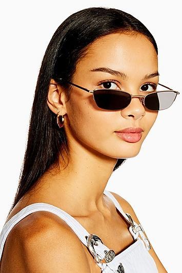 Topshop Halfrim Slim Gold And Smoke Sunglasses