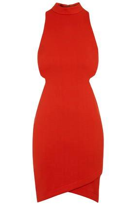 Topshop High Neck Cut-out Mini Dress