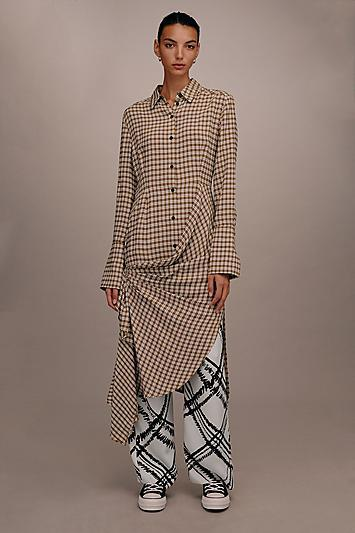Topshop *checked Gathered Shirt Dress By Boutique