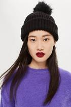 Topshop Knitted Faux Fur Pom Pom Hat
