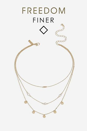 Topshop *freedom Finer Crystal And Disc Necklace