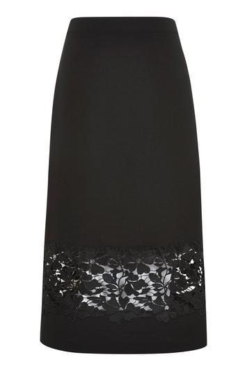 Topshop Lace Insert Midi Skirt