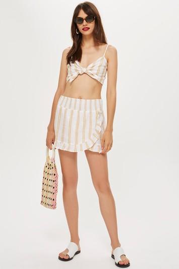Topshop Striped Woven Wrap Skirt