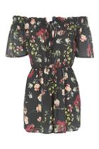 Topshop *off Shoulder Tie Front Playsuit By Oh My Love