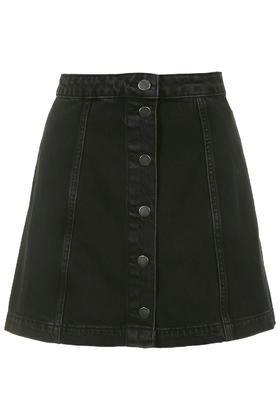 Topshop Moto Black Button Through A-line Skirt