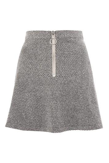 Topshop Petite Salt Pepper Peplum Hem Skirt