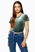 Topshop Velvet Crop T-shirt