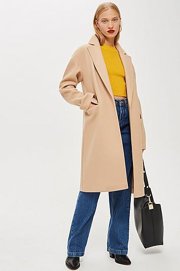 Topshop Relaxed Camel Coat