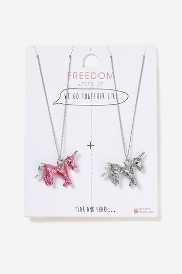 Topshop Glitter Unicorn Multipack Necklace