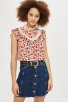 Topshop Floral Trim Shell Top