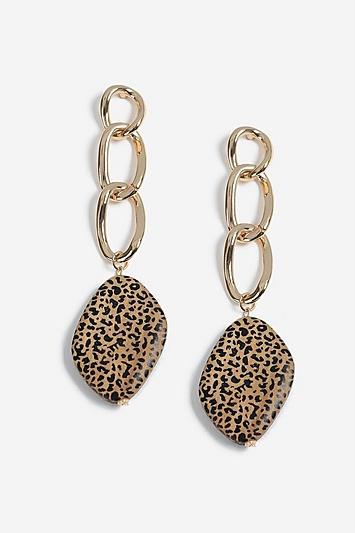 Topshop Chain Link Wooden Drop Earrings
