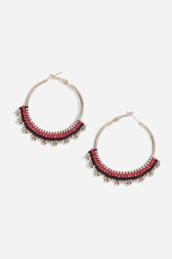 Topshop Red Beaded Hoop Earrings