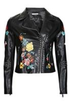 Topshop *floral Embroidered Leather Jacket By Glamorous