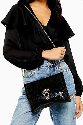 Topshop Panther Lock Clutch Bag