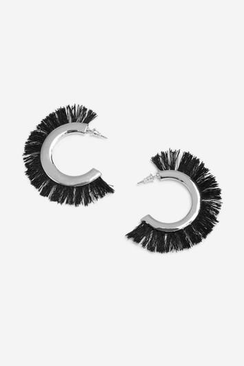 Topshop Fur Edge Hoop Earrings