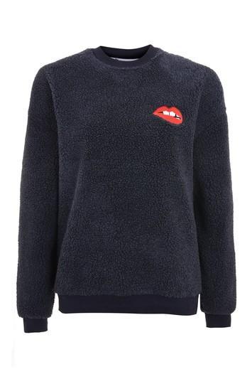 Topshop Borg Lips Sweatshirt By Tee & Cake