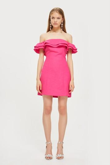 Topshop Ruffle Mini Bardot Dress