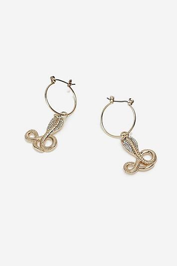 Topshop Cobra Drop Hoop Earrings