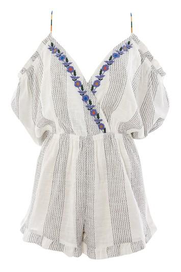 Topshop Embroidered Stripe Playsuit
