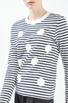 Topshop Polka Stripe Longsleeve Top By Boutique
