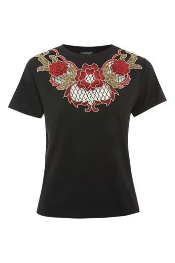 Topshop Net Rose Applique T-shirt