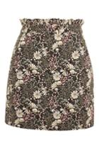 Topshop Petite Tapestry High Waisted Frill Mini Skirt
