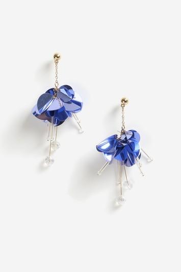 Topshop Purple Sequin Facet Drop Earrings
