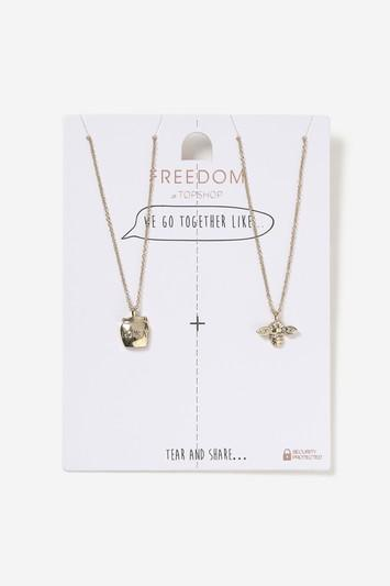 Topshop Honey And Bee Multipack Necklace