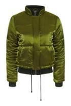 Topshop Shiny Satin Puffer Jacket