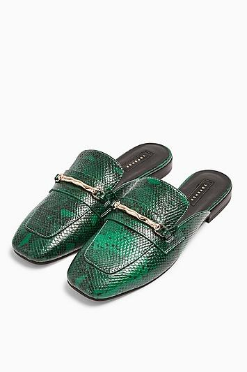 Topshop Lopez Green Backless Loafers