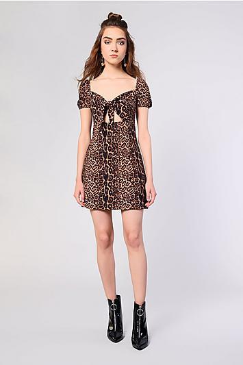 Topshop *animal Printed Skater Dress By Glamorous